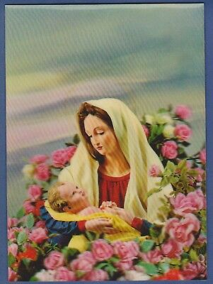3D Lenticular old Toppan postcard Holly Mother Jesus Christianity