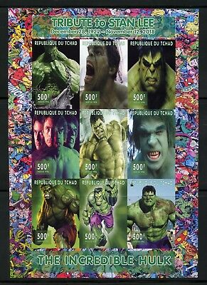 Chad 2018 Tribute To Stan Lee Incredible Hulk   Imperf Sheet (9) Mint Nh
