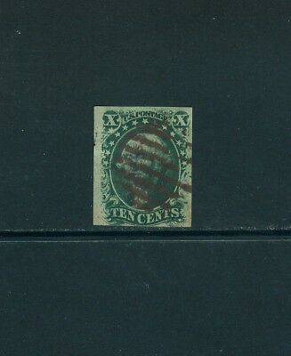 SCOTT#15, 10c GREEN, IMPERF TYPE III WITH A RED CANCEL.,