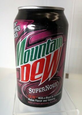 New Mountain Dew Supernova Full Can 12 Oz Limited Ed 2008 Strawberry Melon