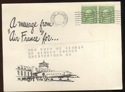1949 Post Card Advertising Air France And Pure Oil Co.