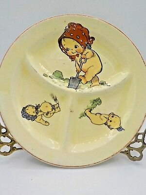 Antique 1920's Roma Childs Divided Stoneware Plate Rose Oneal Kewpies Gardening