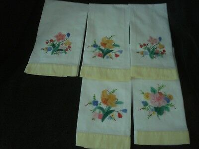 Vintage Hand Towel Tea Towel Flower Applique Hand Embroidered Yellow Trim