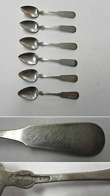 "1840s 6-piece Coin Silver Flatware 5-3/4"" Spoon Set J. Gorham & Son, Providen RI"