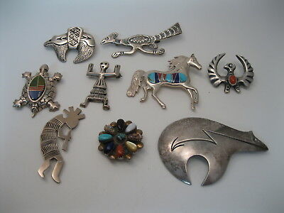 Lot 94 - Collection of 9 Southwestern / Navajo Sterling Silver Pins