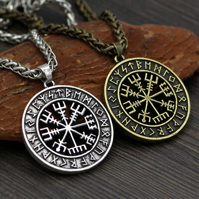 Viking Helmet Runic Circle Pendant Magical Staves Compass Amulet Necklace