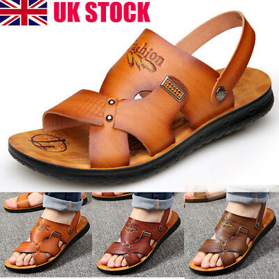 Mens Beach Sandals Leather Slippers Shoes Sandals, Flip Flops, Brown Size UK New