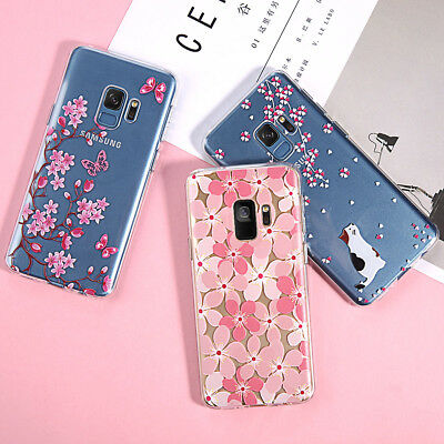 For Samsung Galaxy S8 S9 Plus Note 9 Ultra Slim Clear Flower Soft TPU Case Cover