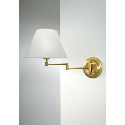 Holtkoetter Shaded Sconce Shaded Swing Arm Sconce, Brass, White - 8164ABSWRG