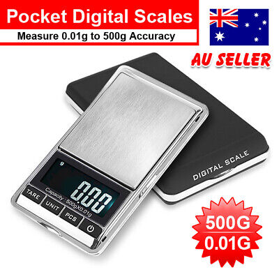 500g 0.01 Mini Pocket Digital Scales Jewellery Electronic 10 Milligram Micro Gm