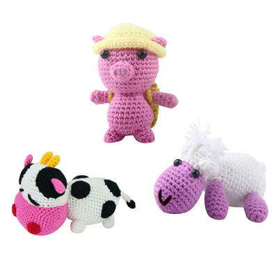3 Sets Crochet Starter Kit for 3D Sheep Cow Pig Stuffed Doll Knitting Sewing