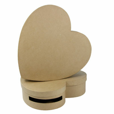 Decopatch Mache Heart Boxes for Weddings & Valentines, Pack of 2, Brown