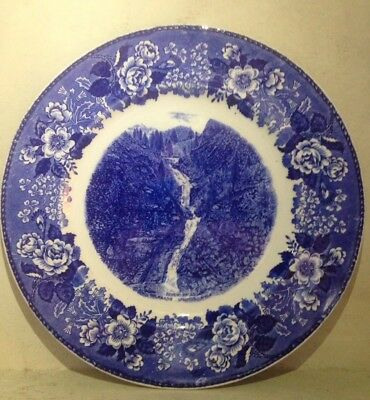 "Old English Staffordshire Ware Blue Seven Falls Colorado 10"" Plate Replacement"