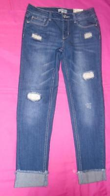 NEW Girls Size 12 MUDD Jeans Girlfriend Distressed w/ Lace Mid-Rise MSRP $44 NWT