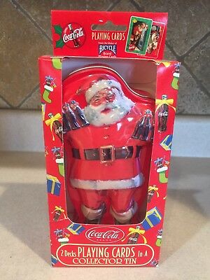 Vintage Coca Cola Santa Tin With 2 Decks of Sealed Playing Cards