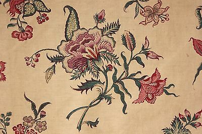 Fabric Antique French Indienne printed cotton curtain 1850 - 1880 Mulhouse old