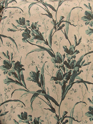 Long Curtain Antique French fabric green floral c1860 Gladiola Drape