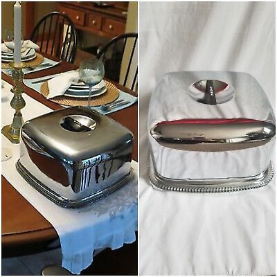 Vintage midcentury Chrome Square Cake-Server Tray Glass Plate with Chrome Lid