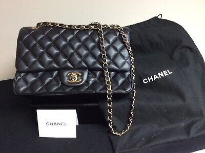 2f8872c59f75 VINTAGE CHANEL CLASSIC Quilted Flap Bag Black Medium with Dust Bag ...