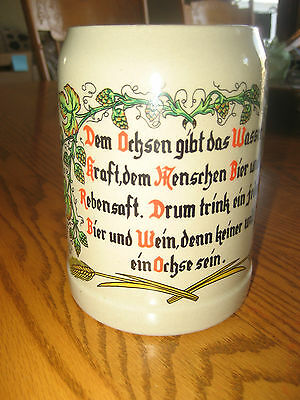 VINTAGE .5 LITER CERAMIC GERZ MUG CUP STEIN MADE in WEST GERMANY, German Saying