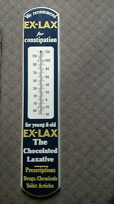 "Vintage 1950's TIN Chocolate Laxative EX-LAX Advertising Thermometer  39"" NICE!!"