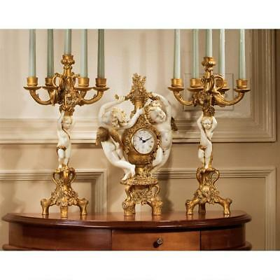 French Baroque Cherubs Clock AND Pair (set of 2) Candelabra Replica Reproduction
