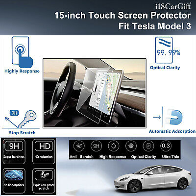 "2017-2019 Tesla Model 3 Tempered Glass 15"" Touch Screen Protector by i18CarGift"