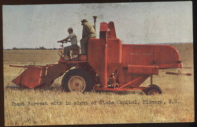 1950S Picture Pc, Wheat Harvest, Bismark, N.d. Massey Harris Combine In Use
