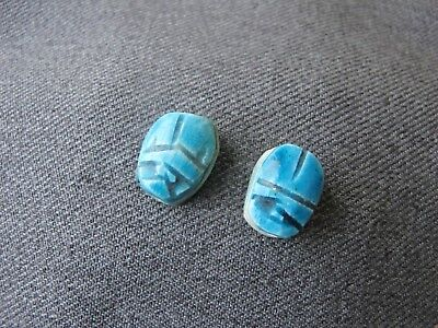 2 egyptian revival turquoise color enamel on  top pottery scarab beads