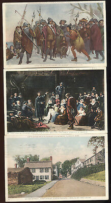Lot Of 3-1920S Plymouth, Ma. Patriotic Post Cards, Pilgrims