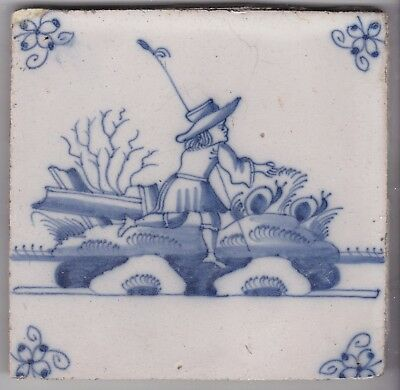 Delft Tile c. 18th / 19th century   (D 146)        Shepherd with sheep