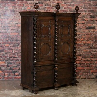 Antique 19th Century Danish Baroque Armoire With Barley Twist Columns