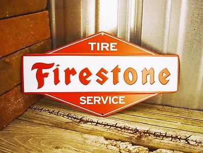 "Firestone Tire Service Tires Embossed 11"" Metal Tin Sign Vintage Garage Small"