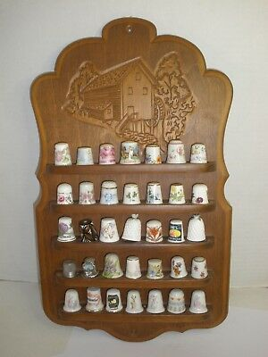 Vintage Thimble Collection and Display Board Set 35 Spode Royal Grafton Coalport