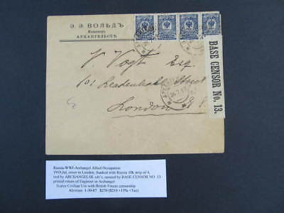 Nystamps Russia stamp WWI Archangel Allied Occupation cover to London paid $270