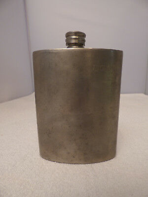 Antique Sheffield English Pewter 8oz Flask - Engraved - BAS