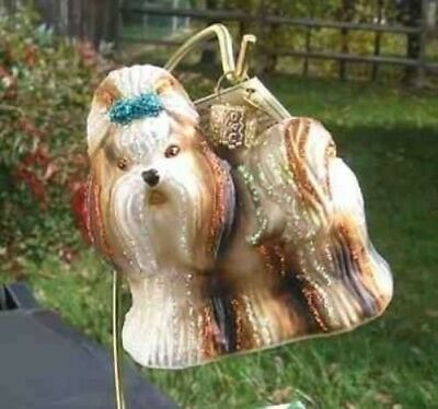 Old World Christmas SHIH TZU Blown Glass Dog Breed Ornament