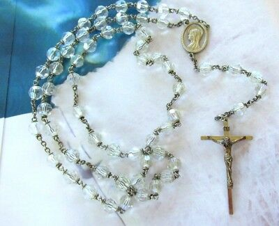 Vtg Signed Chapel Rosary Sterling Silver With Aurora Borealis Crystals Cross