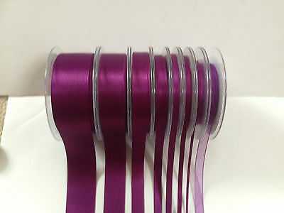 Berisfords PLUM 49  Double Faced Satin & Sheer Ribbon - 3 to 70mm - var lengths