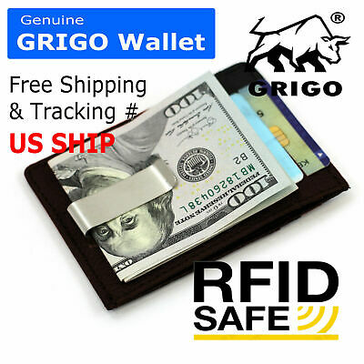 Mens Genuine Leather Money Clip Front Pocket ID Card RFID Blocking Slim Wallet