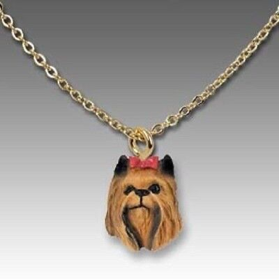 Dog on Chain YORKIE YORKSHIRE TERRIER Resin Dog Head Necklace Jewelry Pendant