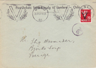 "Norway: cover 20 Ore ""V"" 1941 Oslo to Sweden !!!"