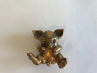 Brass Pig Figure ~ On Back Laughing 2""