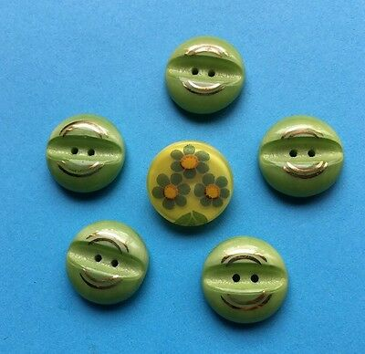 "Vintage Green & Gold 2 Hole Glass Buttons 3/4"" Flower Button Lot 56-12"