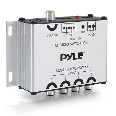 Pyle 4-Channel Car Video Switcher Box (4 Camera Input Port, 1 Video Output)