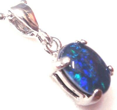 Women Jewellery Natural Black Triplet Opal Pendant 3.80cts Solid 925 Silver