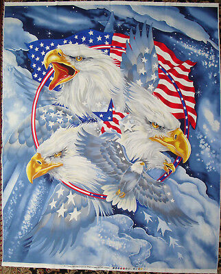 1-yd Eagle Fabric Panel  USA Flag Quilt of Valor QOV Print Concepts 9/11 Veteran