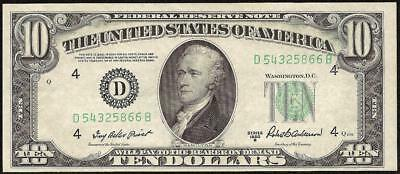 UNC 1950 B $10 DOLLAR FEDERAL RESERVE NOTE CURRENCY CRISP PAPER MONEY Fr 2012-D