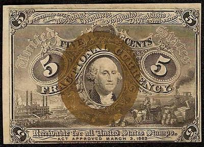 UNC 5 CENT FRACTIONAL CURRENCY 1863 1867 UNITED STATES NOTE PAPER MONEY Fr 1233