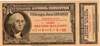 1932 Republican Convention Ticket Fourth Day
